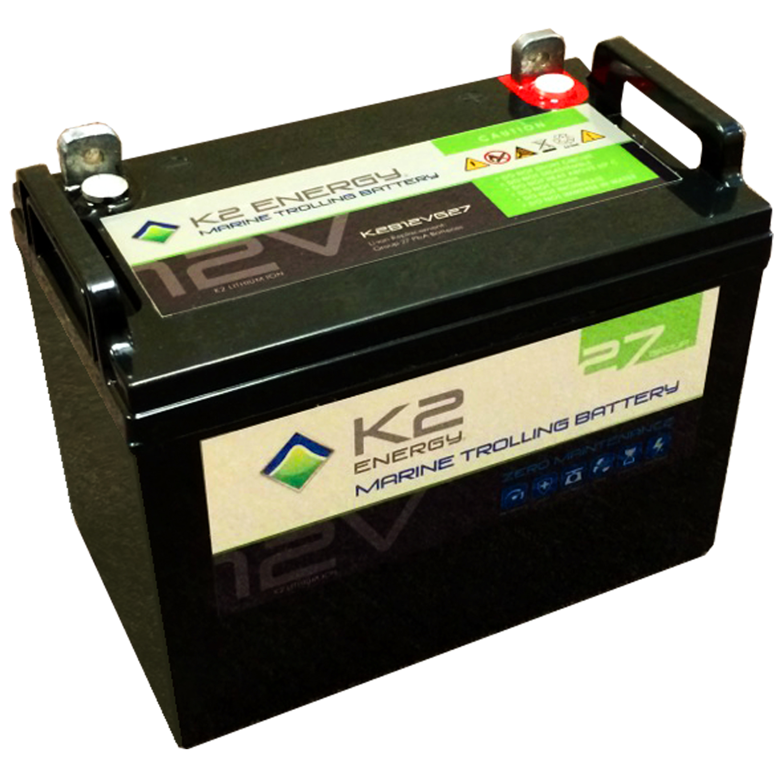 K2 energy 12v k2b12ve27 lithium iron phosphate marine for Marine trolling motor batteries