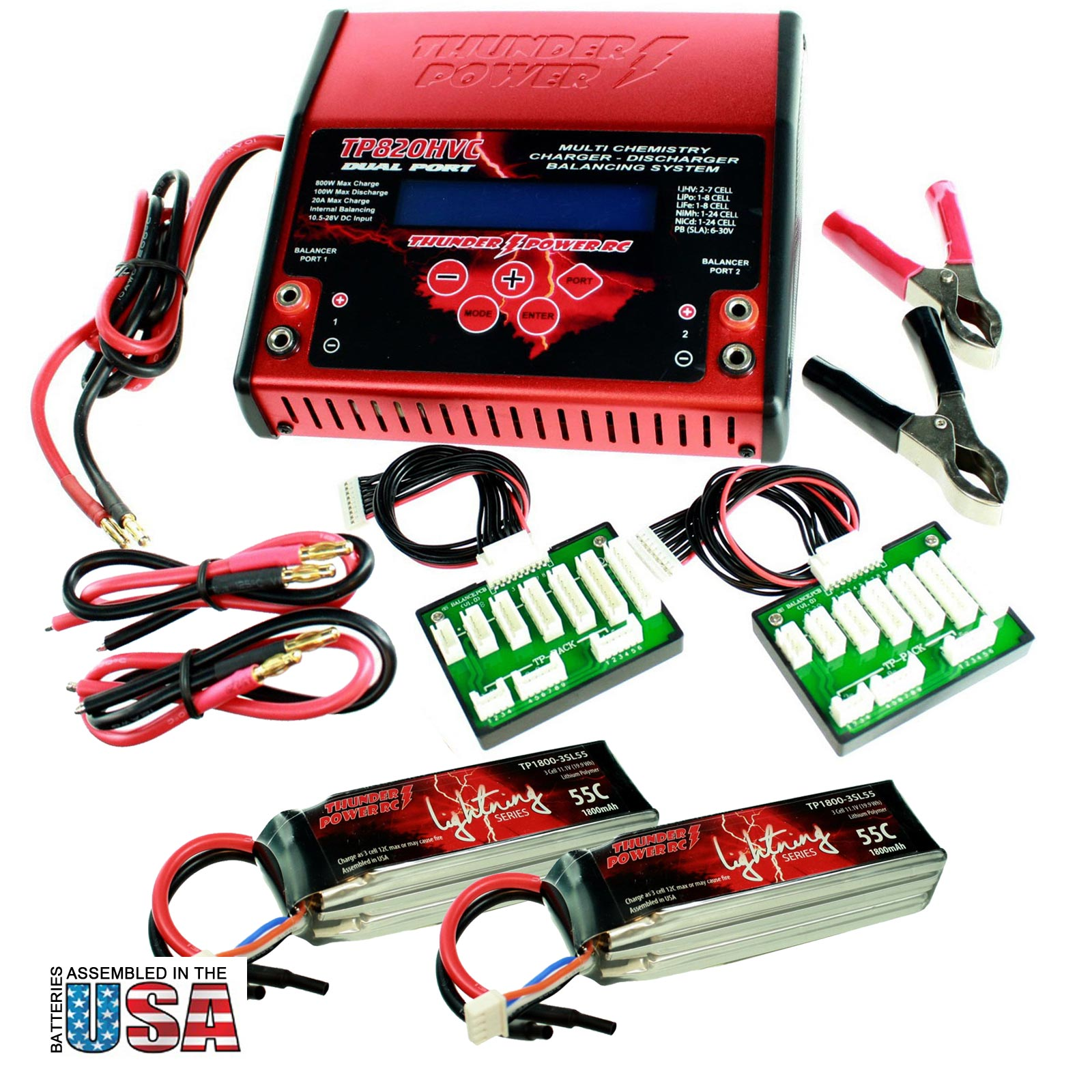 Battery Charger + 2 1800mAh Batteries For Pro RC Boat ...