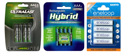 Three types of Hybrid PreCharged Rechargeables