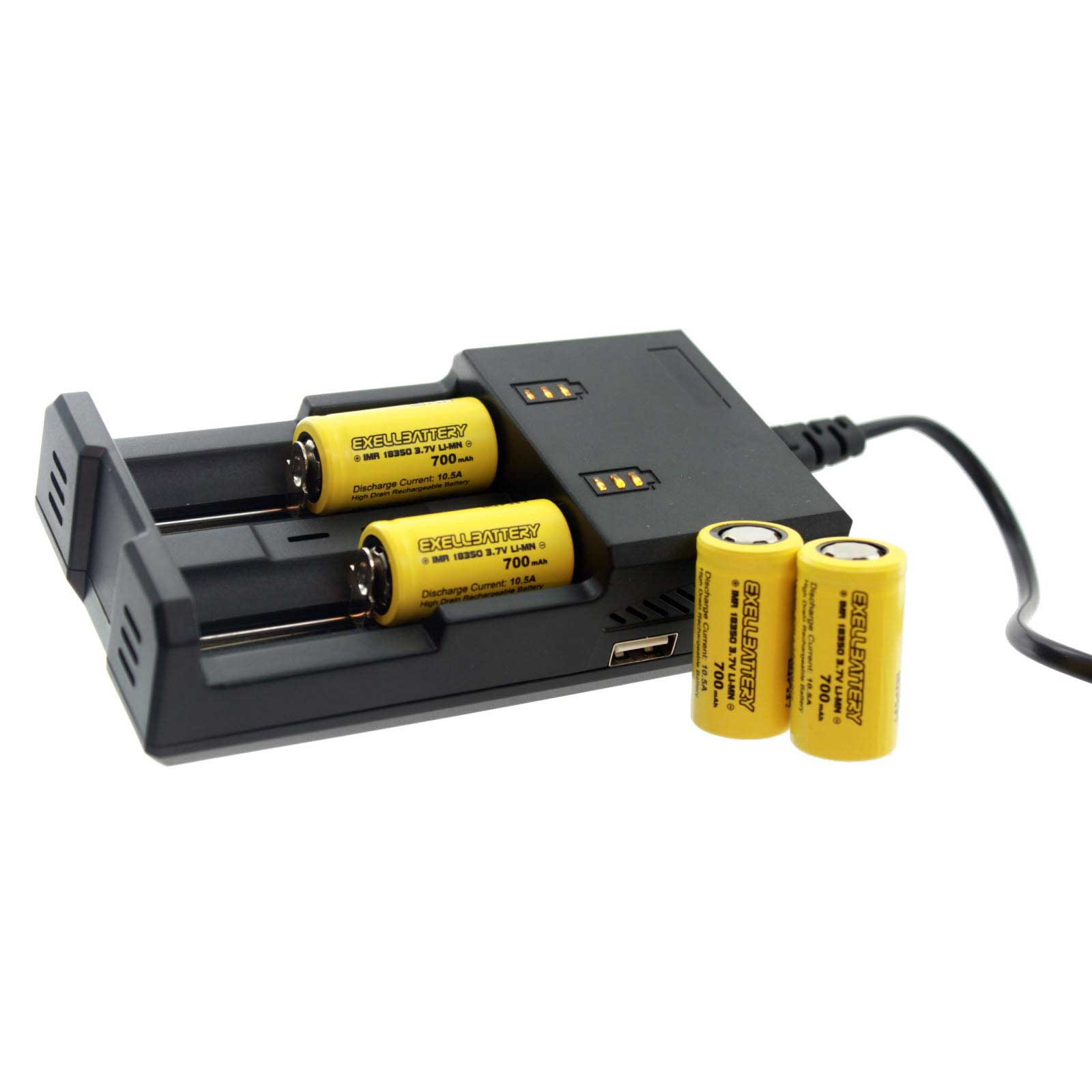 4 Pcs 3 7v 700mah Li Ion 18350 Imr Rechargeable Battery