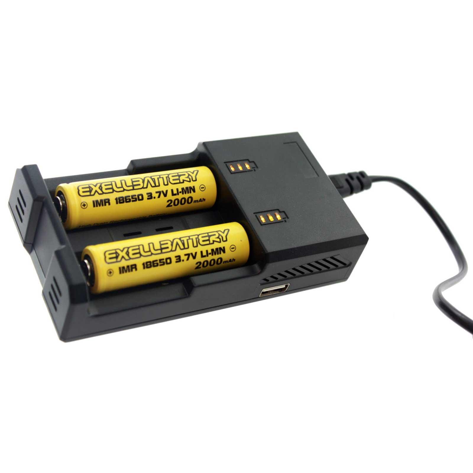 2 Pcs 3 7v 2000mah Li Ion 18650 Imr Rechargeable Battery