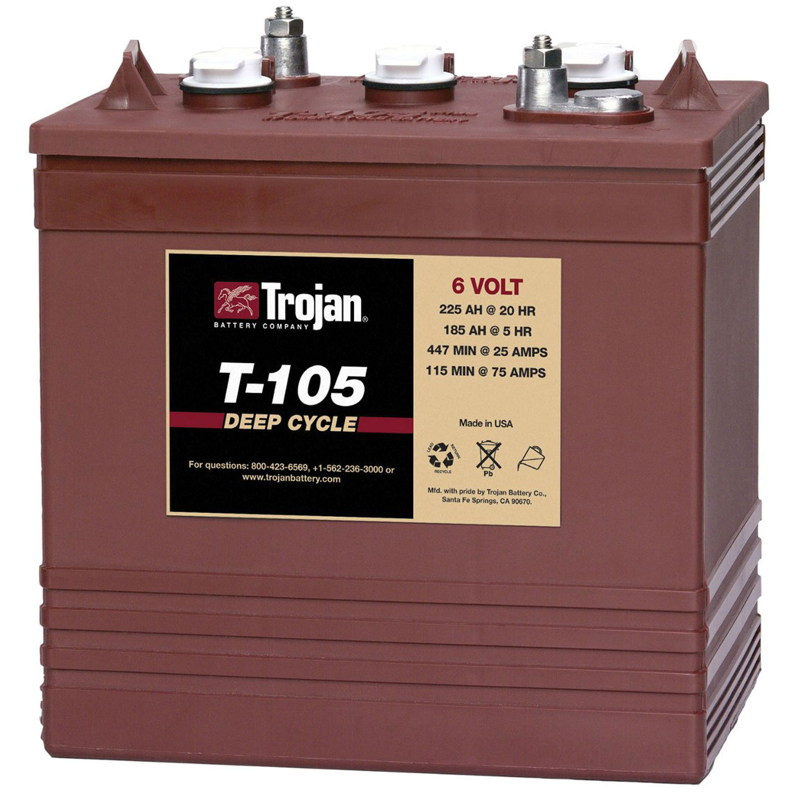 Trojan T 105 Gc2 6v 225ah Deep Cycle Flooded Lead Acid Battery