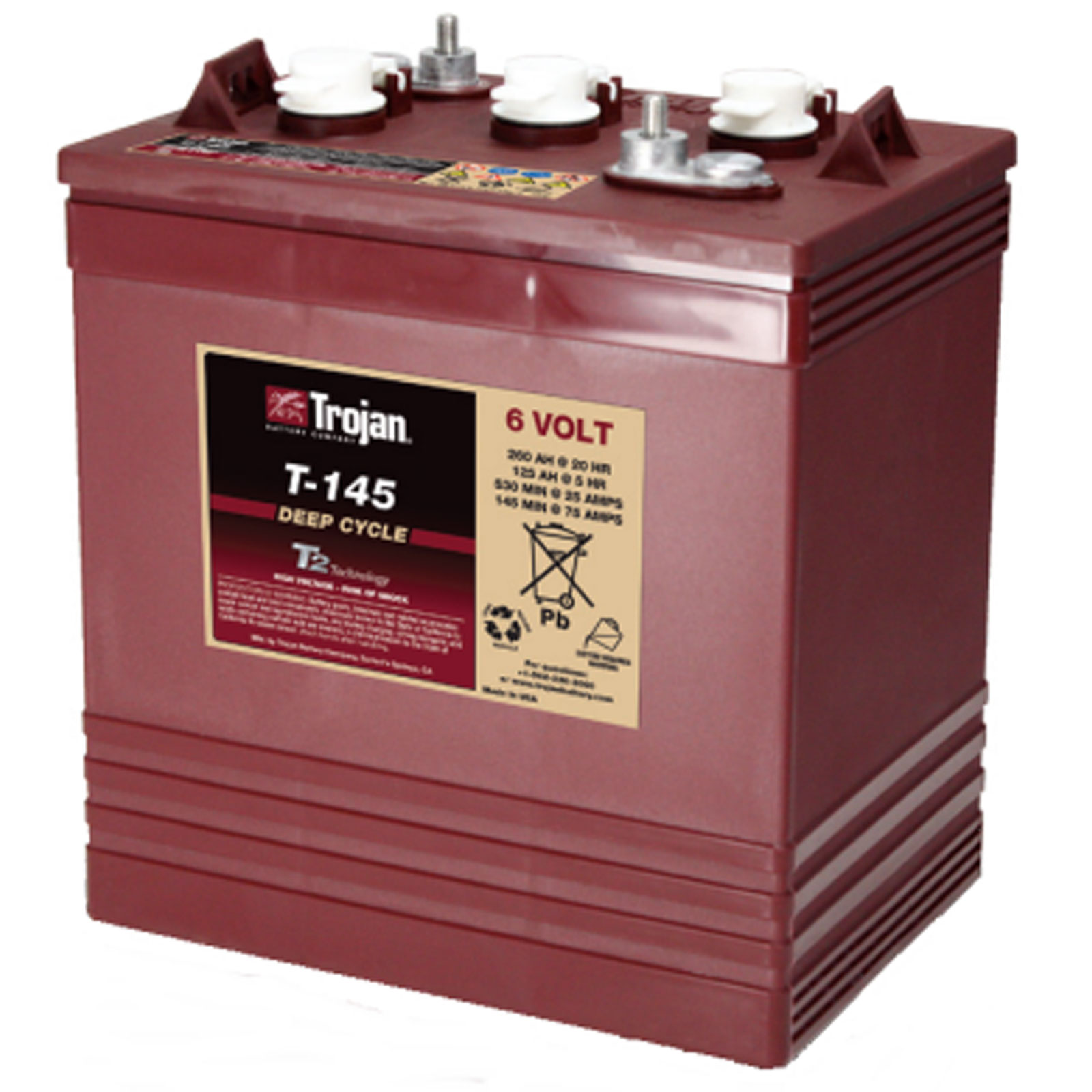 trojan t 145 gc2 6v 260ah deep cycle flooded lead acid battery ebay. Black Bedroom Furniture Sets. Home Design Ideas