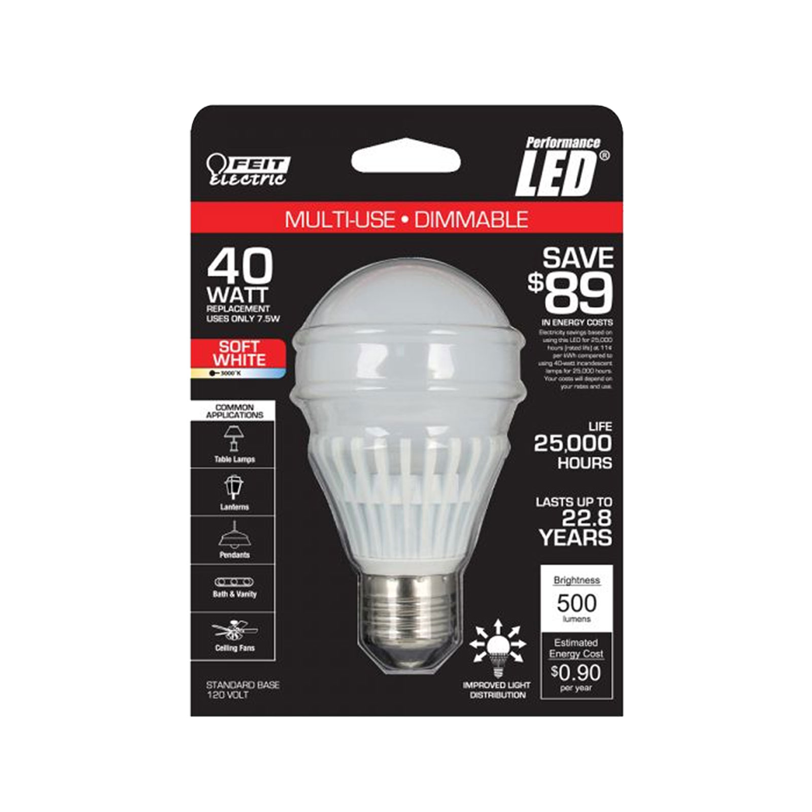 feit electric bpag500dm led led ceiling fan frosted retrofit lamp bulb. Black Bedroom Furniture Sets. Home Design Ideas