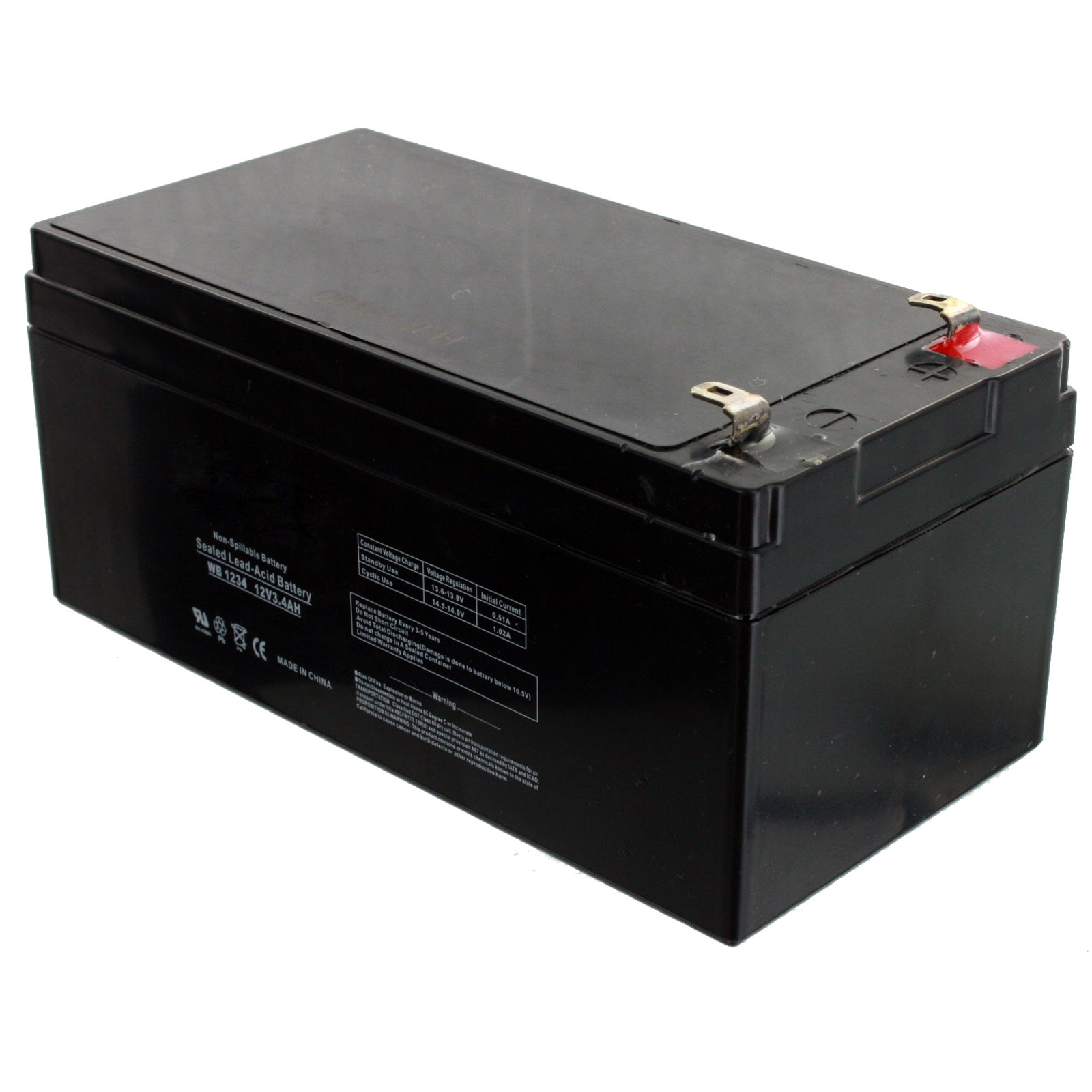 exell battery 12v 3 4ah sla battery replaces wp3 12 bp3 12. Black Bedroom Furniture Sets. Home Design Ideas