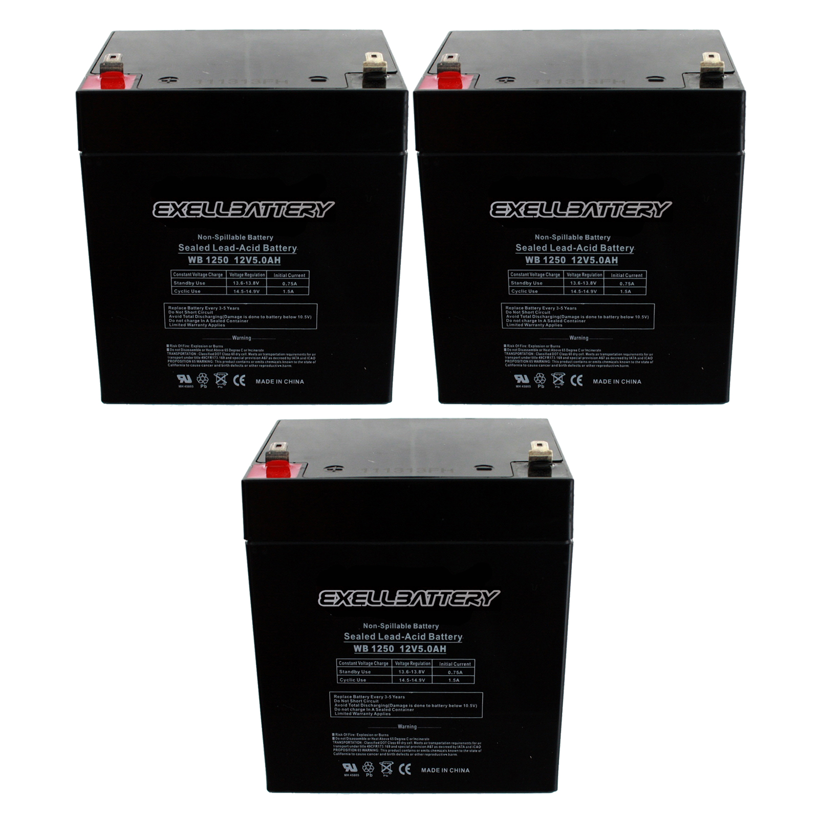 3pc 12v 5ah sla f2 rechargeable agm replacement battery. Black Bedroom Furniture Sets. Home Design Ideas