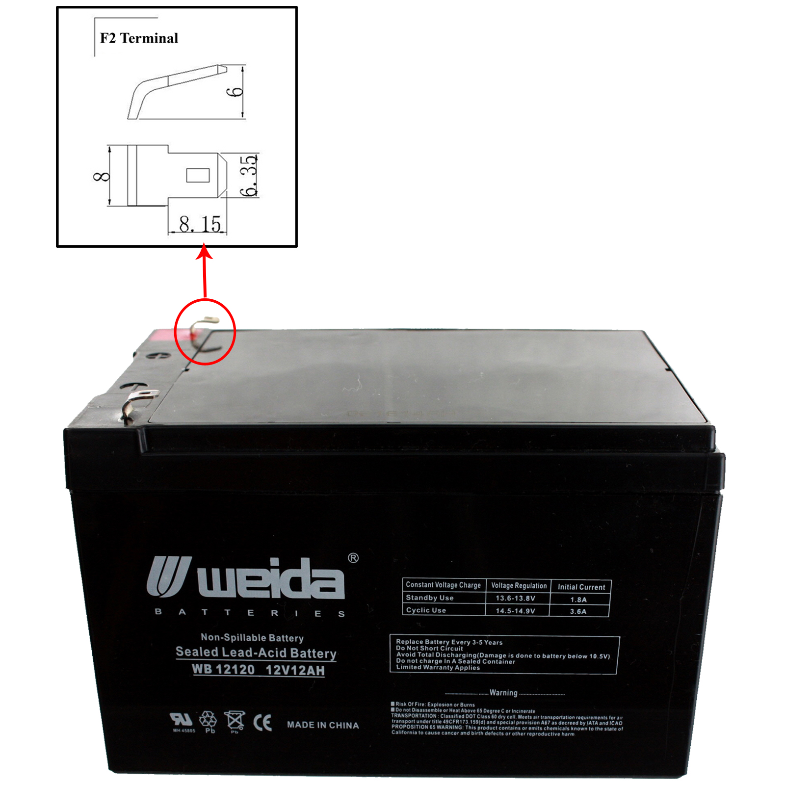 new 3pc 12v 12ah sla battery wb12120f1 for wka12 12f2. Black Bedroom Furniture Sets. Home Design Ideas