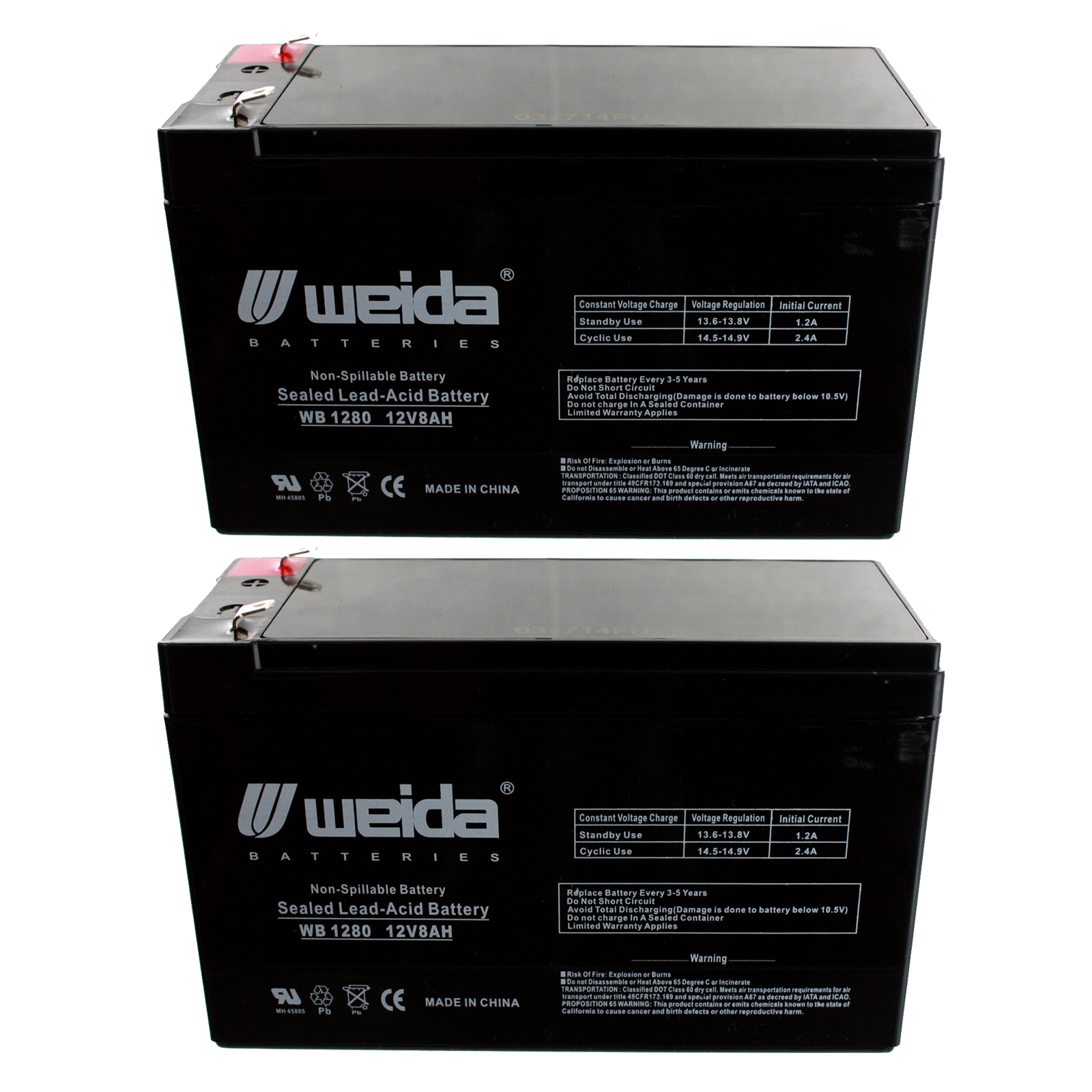 new 2pc 12v 8ah sla battery wb1280f1 for ub1280 d5743. Black Bedroom Furniture Sets. Home Design Ideas
