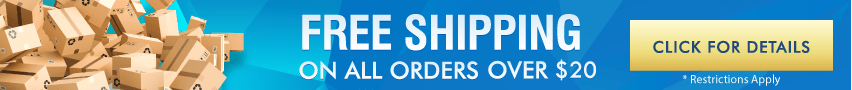 Banner for Free Shipping Over $20 Under A Pound, Restrictions Apply. Click For Details