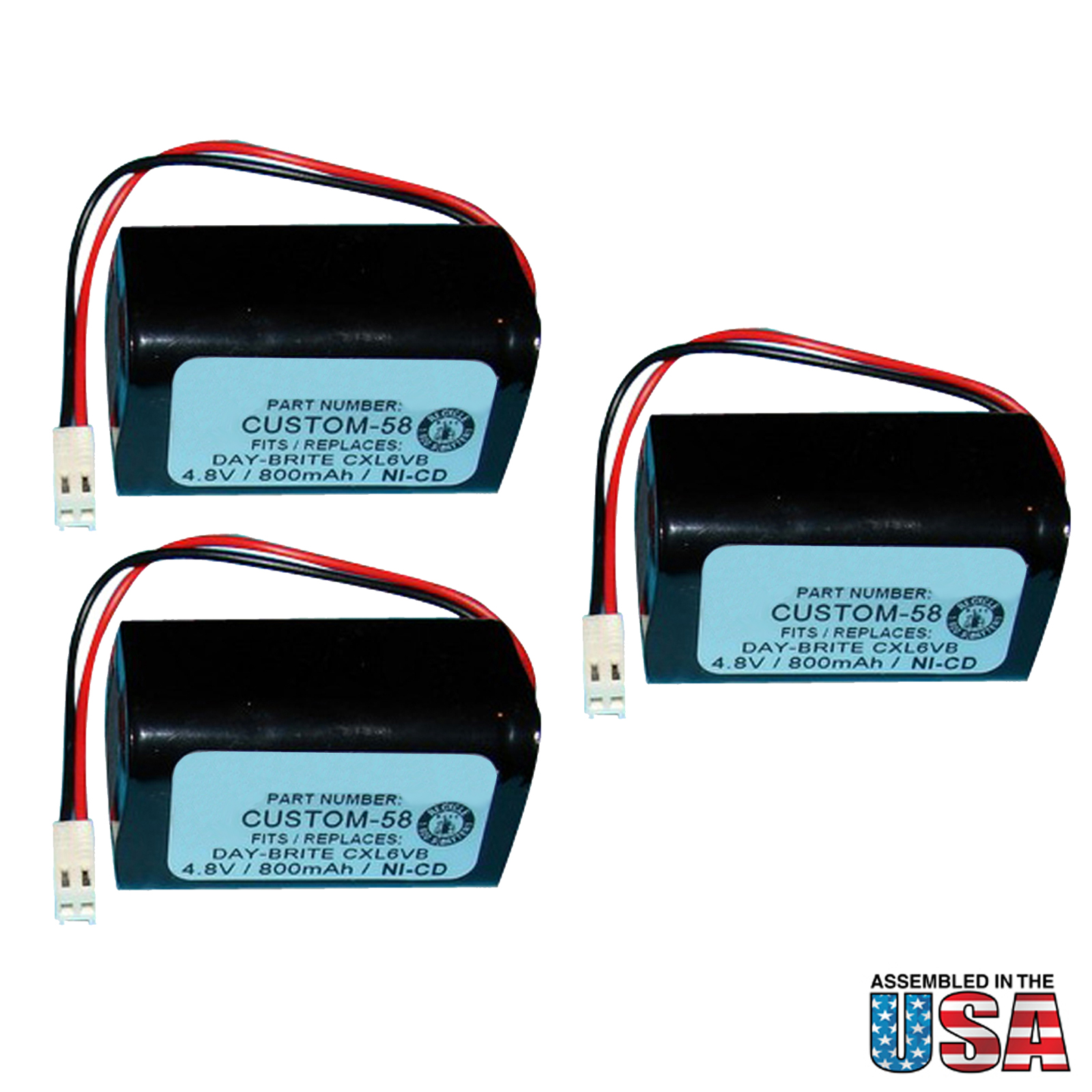 3pc Exit Light Replacement Battery For Interstate Anic0938