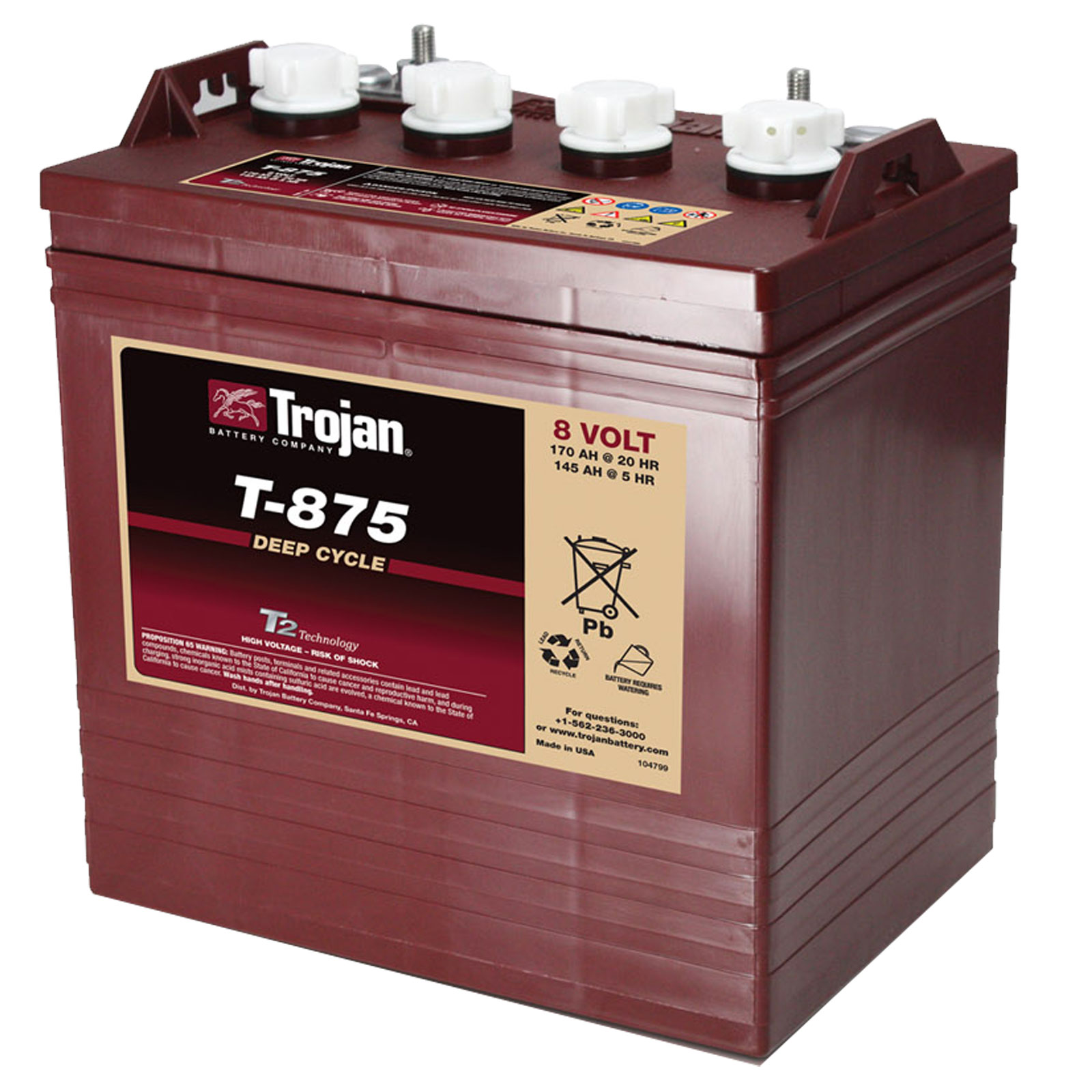Trojan T 875 Gc8 8v 170ah Deep Cycle Flooded Lead Acid