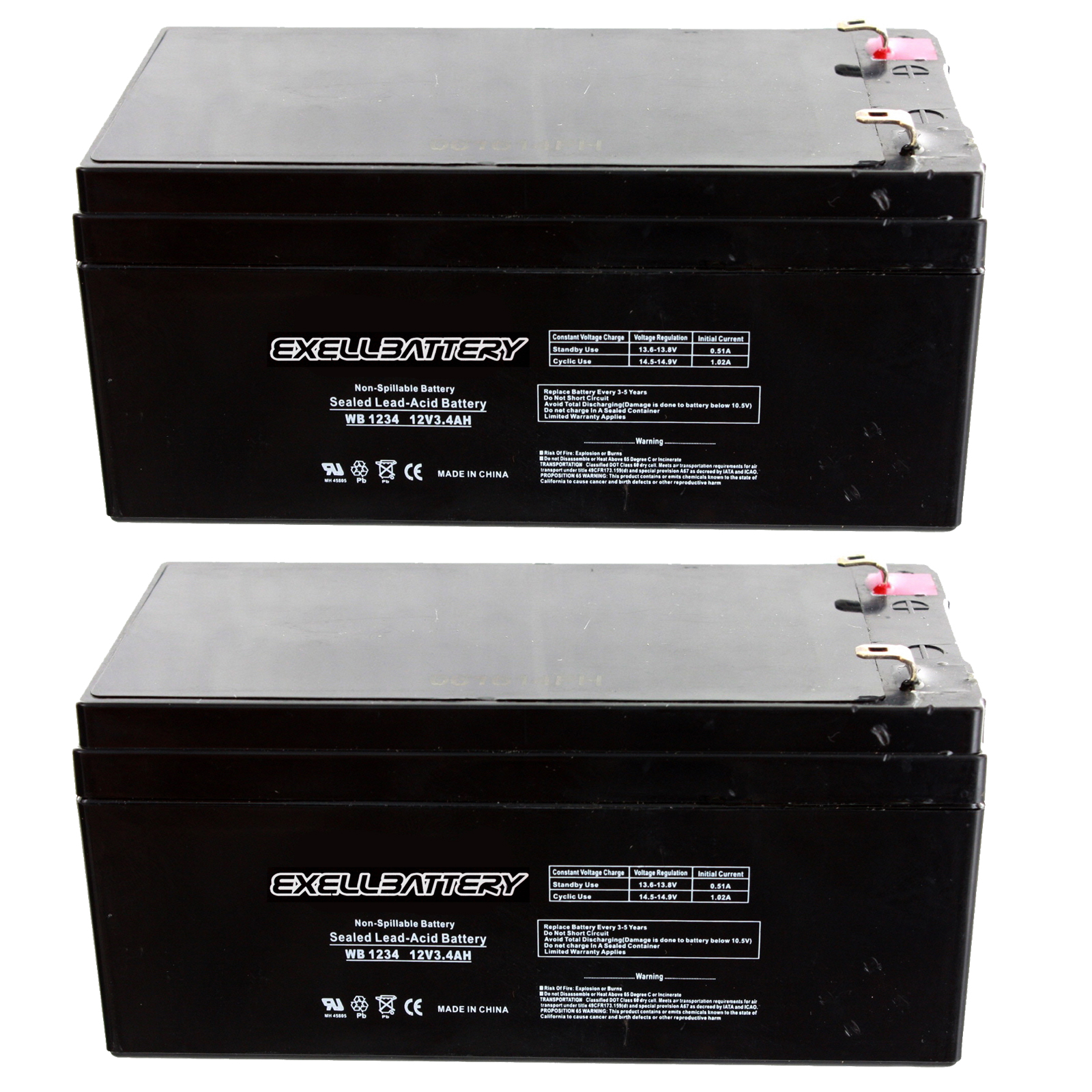 exell 2 pk 12v 3 4ah sealed lead acid battery for ub1234. Black Bedroom Furniture Sets. Home Design Ideas