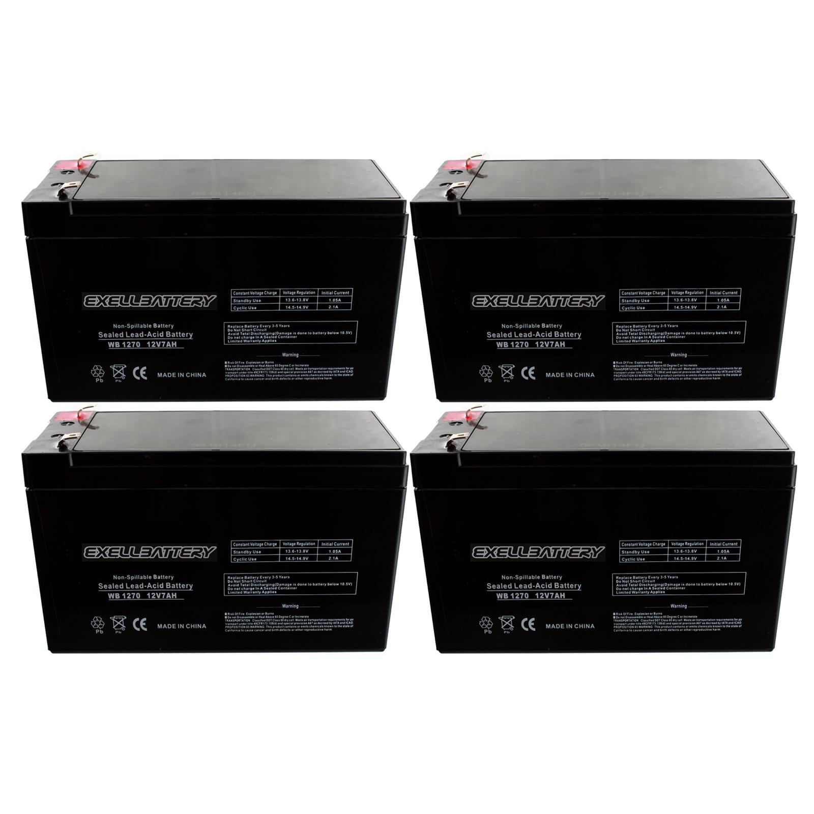 4pack 12v 7ah Sla Battery Replaces Hr9 12 Gp1270 Sla1075