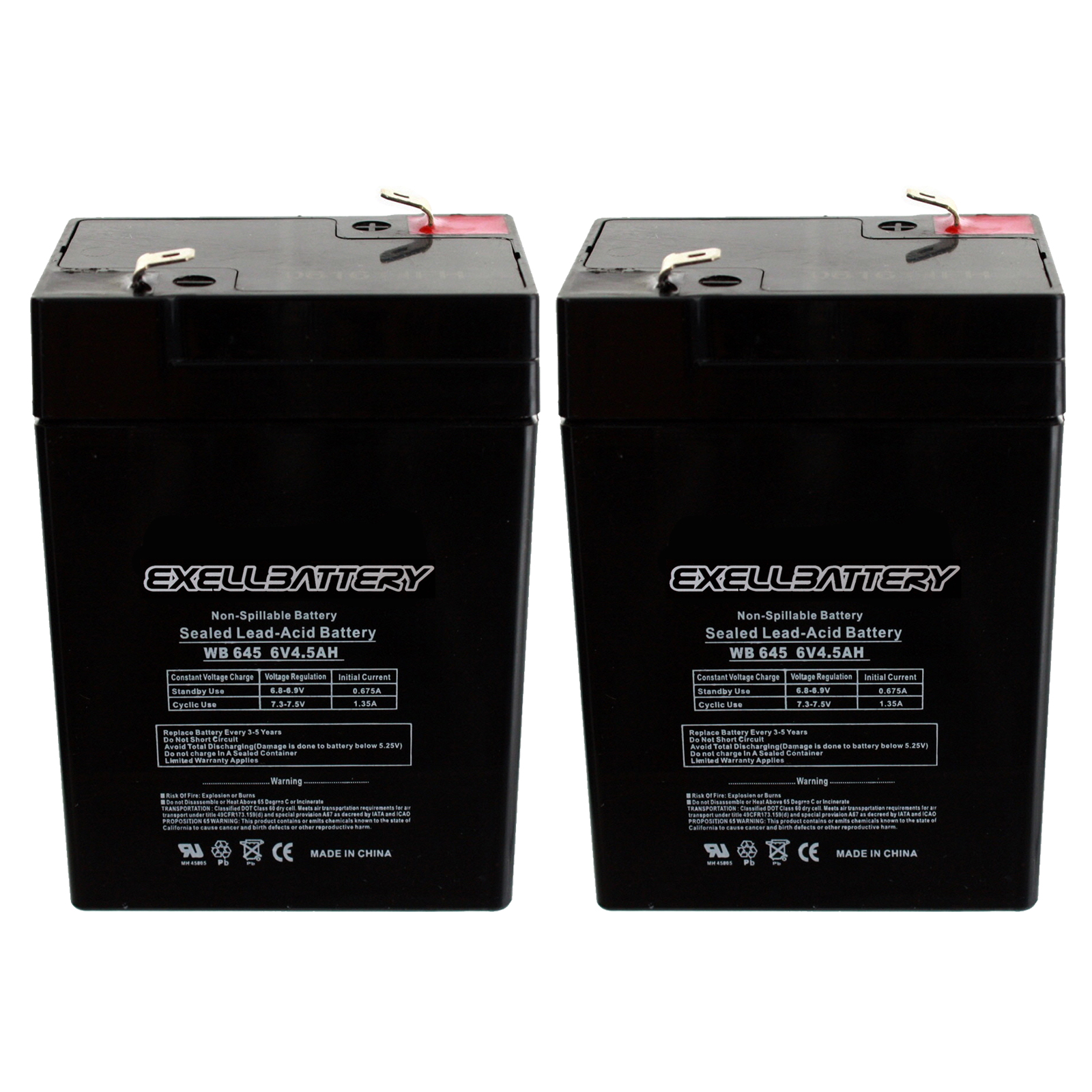 6v 4 5ah Rechargeable Battery Combo Of 2 For Emergency Exit Lighting Systems