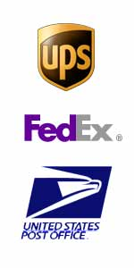 We Proudly Ship UPS, FedEx and US Postal Service